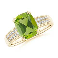 Double Claw-Set Cushion Cut Peridot Ring with Diamond Accent