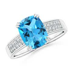 Double Prong Cushion Swiss Blue Topaz Cocktail Ring with Diamonds