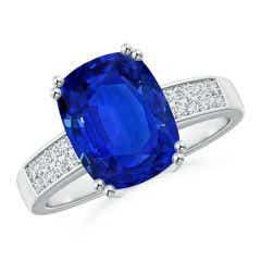 Angara GIA Certified Cushion Sri Lankan Sapphire East-West Halo Ring 8zcXogNd