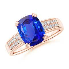 Double Claw-Set Cushion Cut Tanzanite Ring with Diamond Accent