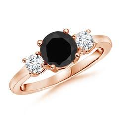 Classic Black Onyx and Diamond Three Stone Ring