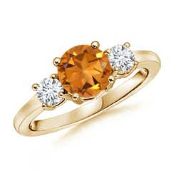 Classic Prong-Set Citrine and Diamond Three Stone Ring