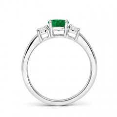 Toggle Classic Emerald and Diamond Three Stone Engagement Ring