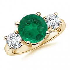 Classic GIA Certified Emerald Three Stone Ring with Diamonds
