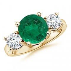 Emerald and Diamond Three Stone Ring (GIA Certified Emerald)