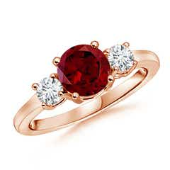 Classic Prong-Set Garnet and Diamond Three Stone Ring