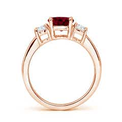 Toggle Classic Garnet and Diamond Three Stone Engagement Ring