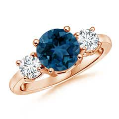 Classic London Blue Topaz and Diamond Three Stone Ring