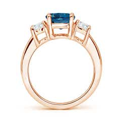 Toggle Classic London Blue Topaz and Diamond Three Stone Ring