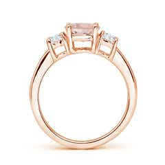 Toggle Classic Morganite and Diamond Three Stone Engagement Ring