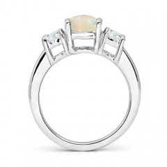 Toggle Classic Opal and Diamond Three Stone Engagement Ring