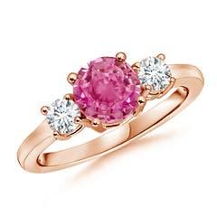 Classic Prong-Set Diamond & Pink Sapphire 3 Stone Ring