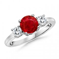 Classic Ruby and Diamond Three Stone Engagement Ring