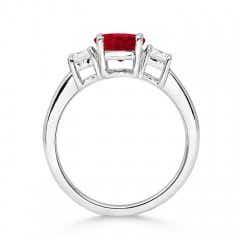 Toggle Classic Ruby and Diamond Three Stone Engagement Ring
