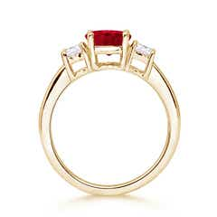 Classic Prong-Set Ruby & Diamond Three Stone Ring