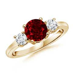 Ruby and Diamond Three Stone Ring (GIA Certified Ruby)