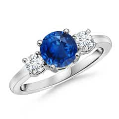 Classic Prong-Set Blue Sapphire & Diamond 3 Stone Ring