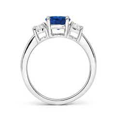 Classic Prong-Set Blue Sapphire & Diamond 3 Stone Ring