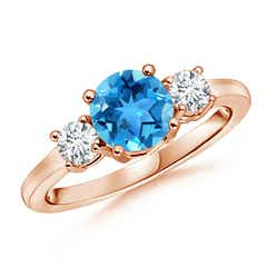 Classic Prong-Set Swiss Blue Topaz and Diamond Three Stone Ring