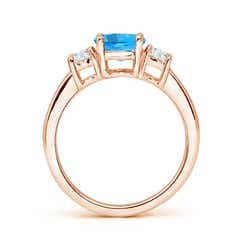 Toggle Classic Swiss Blue Topaz and Diamond Three Stone Ring