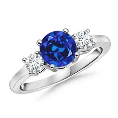 Classic Lab Created Sapphire and Diamond 3 Stone Ring