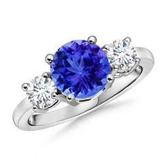 Classic Prong-Set Tanzanite & Diamond Three Stone Ring