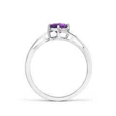 Toggle Classic Round Amethyst Solitaire Bypass Ring