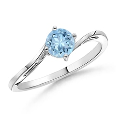 Classic Round Aquamarine Solitaire Bypass Ring