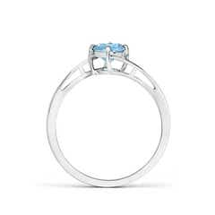 Toggle Classic Round Aquamarine Solitaire Bypass Ring