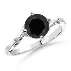Classic Twist Shank Round Solitaire Black Onyx Ring