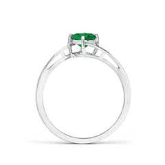 Toggle Classic Round Emerald Solitaire Bypass Ring