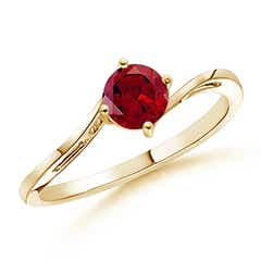 Classic Round Garnet Solitaire Bypass Ring