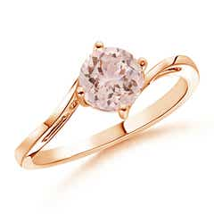 Classic Round Morganite Solitaire Bypass Ring