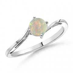 Classic Round Opal Solitaire Bypass Ring