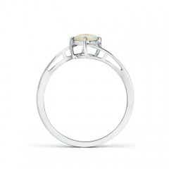 Toggle Classic Round Opal Solitaire Bypass Ring