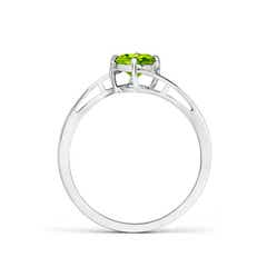 Toggle Classic Round Peridot Solitaire Bypass Ring