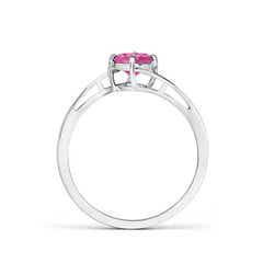 Toggle Classic Round Pink Sapphire Solitaire Bypass Ring