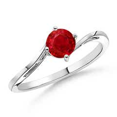 Classic Round Ruby Solitaire Bypass Ring