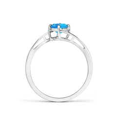 Toggle Classic Round Swiss Blue Topaz Solitaire Bypass Ring