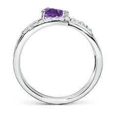 Toggle Criss Cross Pear Shaped Amethyst Ring with Diamond Accents