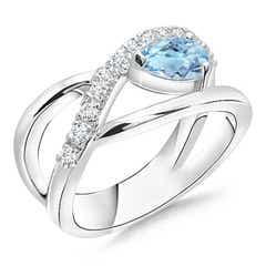 Criss Cross Pear Shaped Aquamarine Ring with Diamond Accents