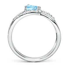 Toggle Criss Cross Pear Shaped Aquamarine Ring with Diamond Accents