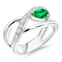 Criss Cross Pear Shaped Emerald Ring with Diamond Accents