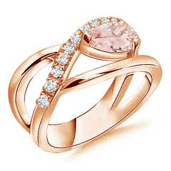 Criss Cross Pear Shaped Morganite Ring with Diamond Accents