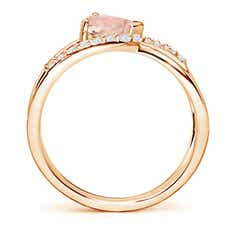 Toggle Criss Cross Pear Shaped Morganite Ring with Diamond Accents