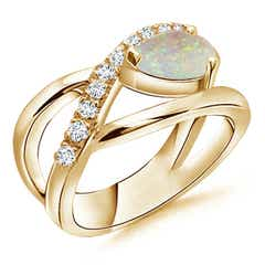 Criss Cross Pear Shaped Opal Ring with Diamond Accents