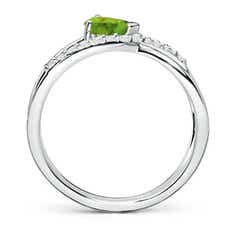 Toggle Criss Cross Pear Shaped Peridot Ring with Diamond Accents