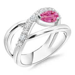 Criss Cross Pear Shaped Pink Sapphire Ring with Diamond Accents