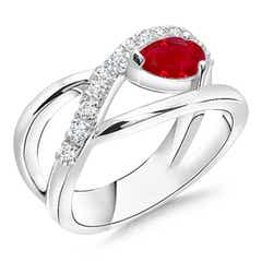 Criss Cross Pear Shaped Ruby Ring with Diamond Accents