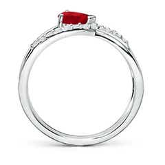 Toggle Criss Cross Pear Shaped Ruby Ring with Diamond Accents